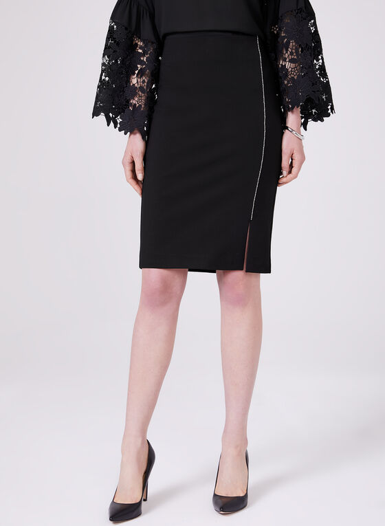 Studded Trim Pencil Skirt, Black, hi-res