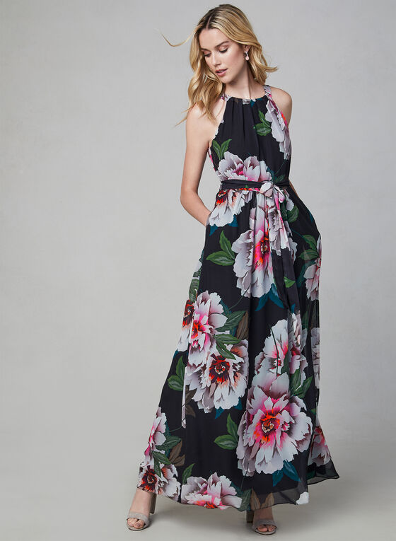 Floral Print Chiffon Dress, Black, hi-res