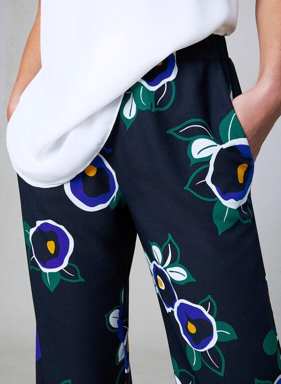 Pantalon palazzo à imprimé floral, Bleu