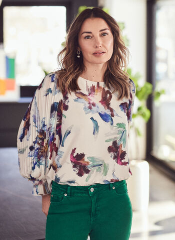 Floral Print Pleated Sleeve Blouse, White,  top, blouse, chiffon, floral, watercolour, pleated, balloon sleeve, boat neck, spring summer 2021