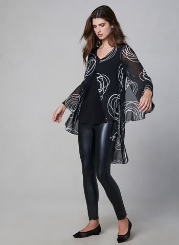 Compli K - Chiffon Top, Black, hi-res,  v neck, chiffon, abstract geometric print, sheer sleeves, made in canada, fall 2019, winter 2019