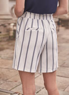 Striped Pull On Shorts, White