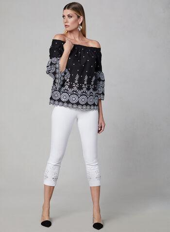 Off-the-Shoulder Blouse, Black, hi-res,  off-the-shoulder, blouse, eyelets, embroidered, scalloped, spring 2019