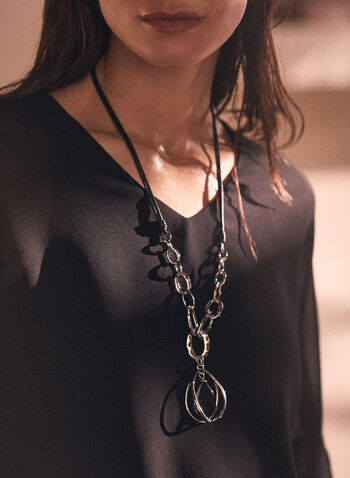 Chain & Stone Pendant Necklace, Black,  jewellery, accessories, necklace, pendant, stone, chain, rope, teardrop, spring summer 2021