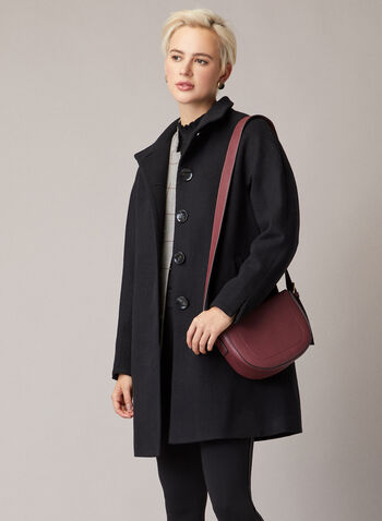 High Collar Wool Blend Coat, Black,  coat, high neck, wool blend, button front, pockets, lined, long sleeves, fall winter 2020