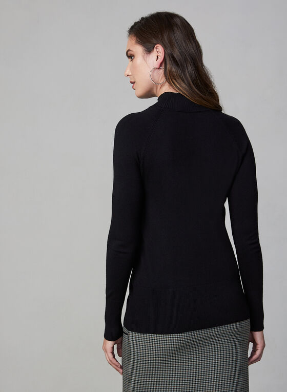Button Detail Turtleneck Sweater, Black