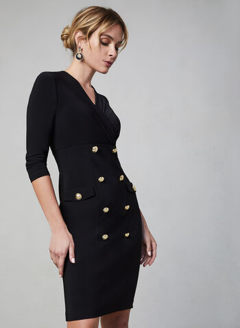 Joseph Ribkoff - Detailed Slim Dress, Black, hi-res,  canada, jersey, v-neck, military, 3/4 sleeves, dress, Joseph Ribkoff, buttons, slim cut, slim waist, day dress, fall 2019, winter 2019