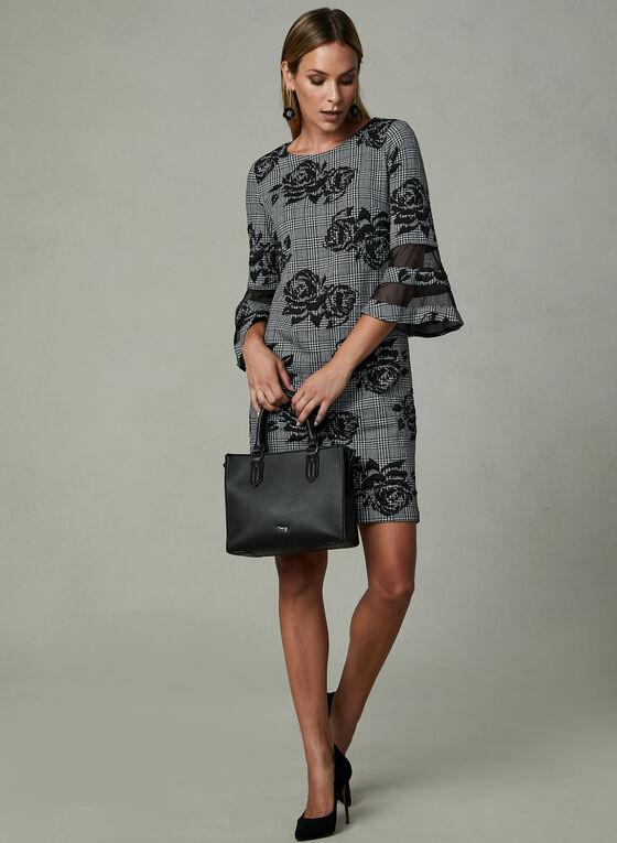 Sandra Darren - Houndstooth Print Dress, Black, hi-res