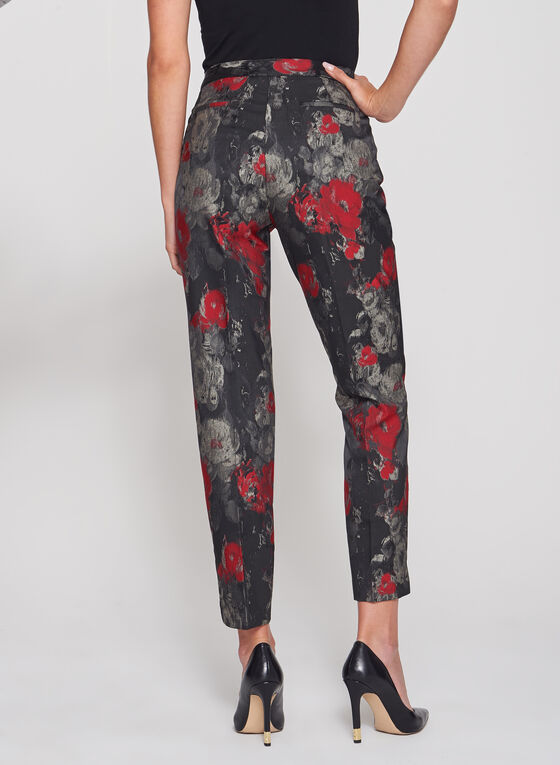 Floral Print Straight Leg Ankle Pants, Black, hi-res