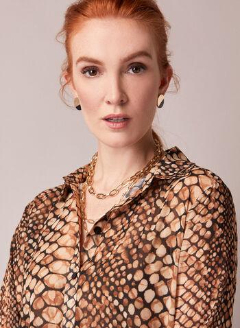 Tunique chemisier à motif serpent, Brun,  automne hiver 2020, tunique, chemisier, blouse, boutons, manches longues, chemisier, motif, serpent, mousseline, crêpe
