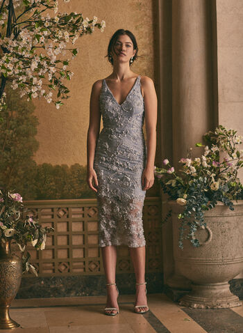 BA Nites - V-Neck Lace Dress, Blue,  evening dress, occasion, lace, floral appliqué, midi, spring summer 2021
