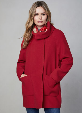 Marcona - Wool-Like Coat, Red,  fall winter 2019, faux wool, long sleeves, asymmetric closure, patch pockets