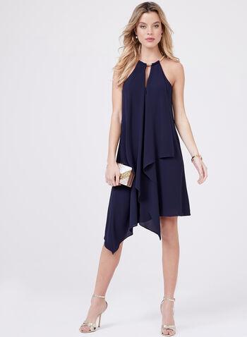 Kensie – Asymmetric Cleopatra Snake Chain Dress, Blue, hi-res