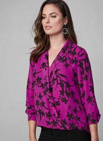 Vince Camuto - Floral Blouse, Red, hi-res,  Vince Camuto, blouse, long sleeves, crossover, floral, fall 2019, winter 2019
