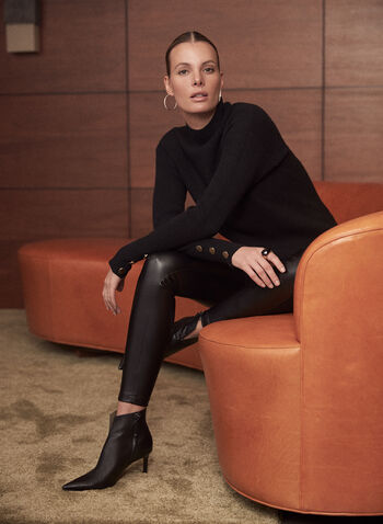 Mock Neck Tunic Sweater, Black,  sweater, knit, tunic, ribbed knit, long sleeves, mock neck, button details, fall winter 2020