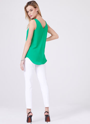 Sleeveless Crepe Camisole, Green, hi-res