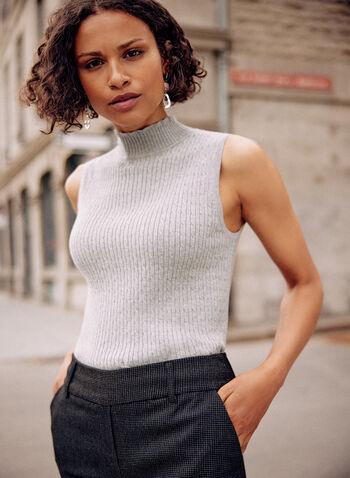 Camisole à col montant en tricot torsadé, Gris,  haut, camisole, basique, col montant, sans manches, tricot torsadé, automne 2021