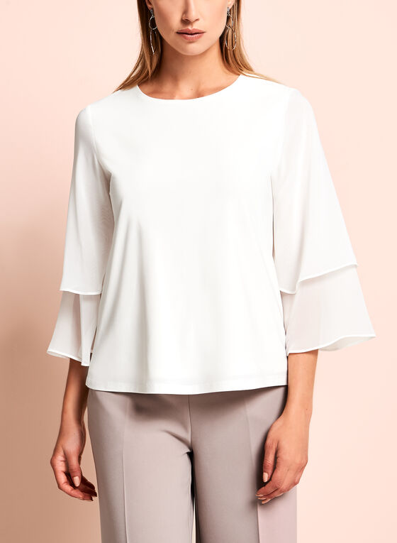 ¾ Chiffon Sleeve Top, Off White, hi-res