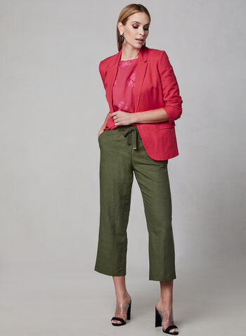 Pull-On Linen Culottes, Green, hi-res,  culotte, cotton, pull-on, spring 2019