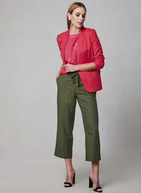 Pantalon gaucho en mélange de lin, Vert, hi-res