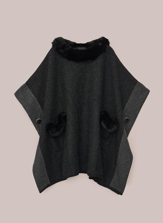 Faux Fur Detail Poncho, Grey
