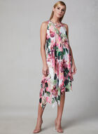 Maggy London - Floral Print Asymmetric Dress, White, hi-res