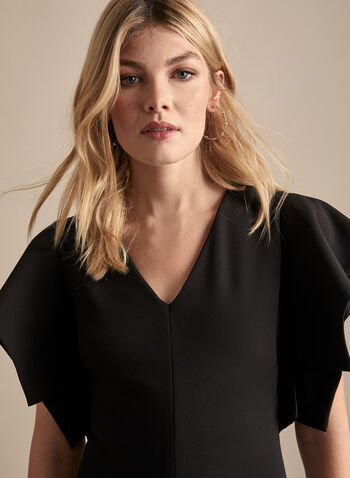 Joseph Ribkoff - Ruffle Sleeve Cocktail Dress, Black,  cocktail dress, short sleeves, ruffled, tiered, sheath, crepe, v-neck, spring summer 2020