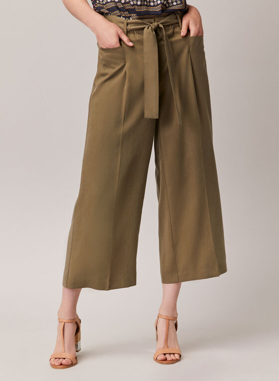 Pantalon gaucho en tencel, Vert