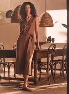 Culotte-Style Tencel Jumpsuit, Beige