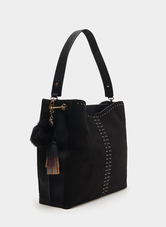 CÉLINE DION - Faux Suede Hobo Bag, Black, hi-res