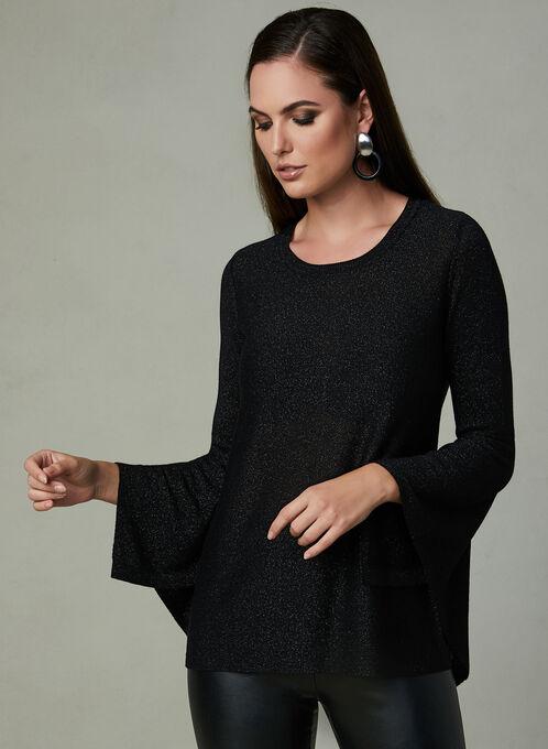 Angel Sleeve Glitter Sweater, Black, hi-res