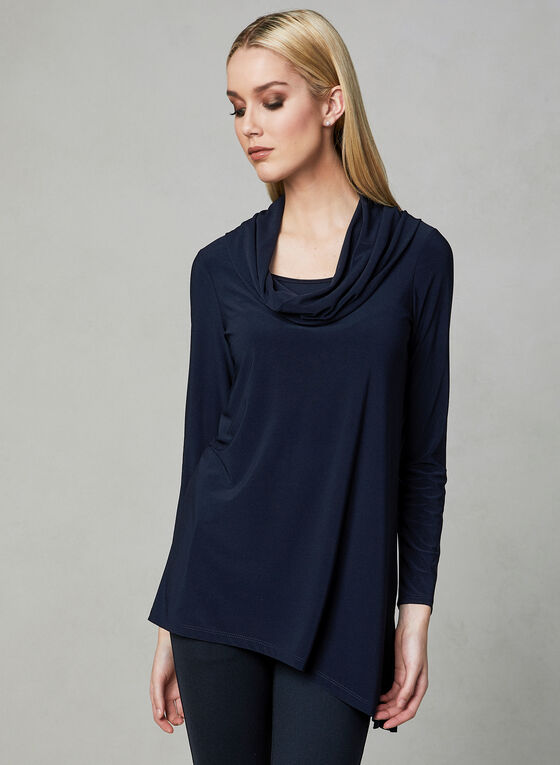 Cowl Neck Tunic Top, Blue, hi-res