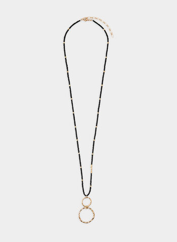 Collier long à pendants cercles, Noir, hi-res,  collier, long, billes, martelé, cercles, automne hiver 2019
