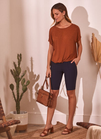 Slim Leg Pull On Shorts, Blue,  spring summer 2021, made in Canada, shorts, bottoms, pull-on, elastic waist, slim leg, bengaline, shorts, bottoms, tab detail, pockets, belt loops, stitching