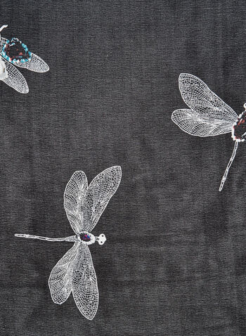 Dragonfly Print Scarf, Black, hi-res