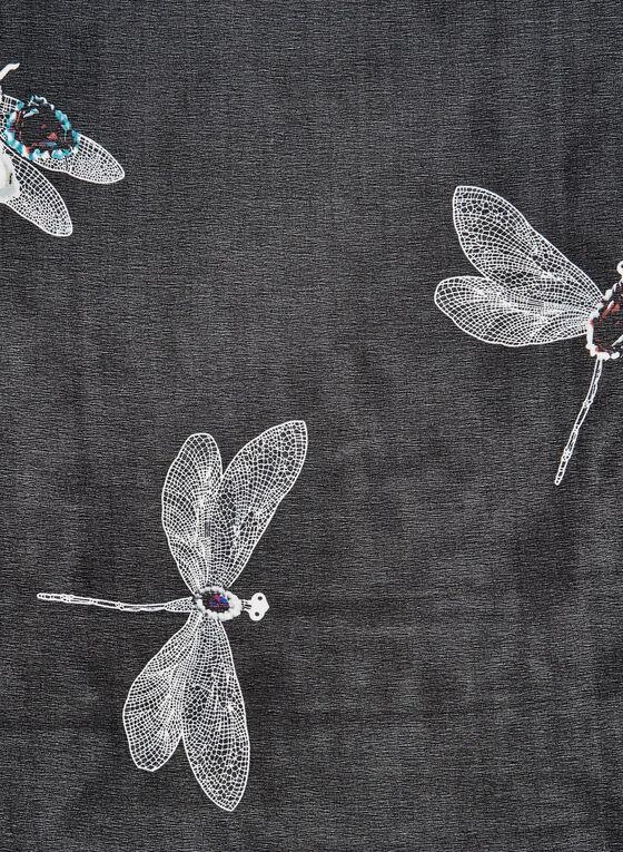 Foulard imprimé libellules et pierres précieuses, Noir, hi-res