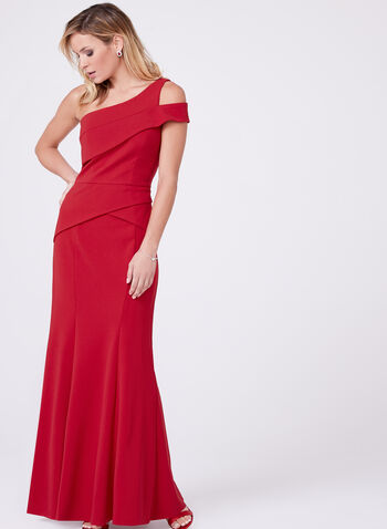 Cachet - One Shoulder Peplum Crepe Dress, Red, hi-res