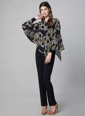 Joseph Ribkoff –Leopard Print Batwing Sleeve Blouse, Black, hi-res,  poncho top