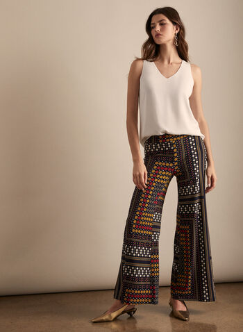 Pull-on Palazzo Pants, Blue,  spring summer 2020, wide leg, pull-on pants, dot print
