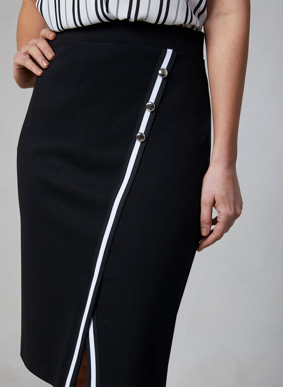 Contrast Trim Midi Skirt, Black, hi-res