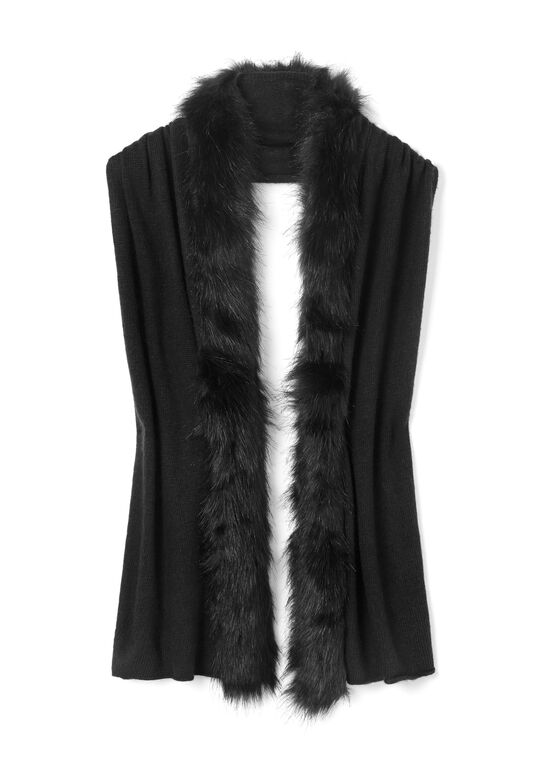 Pashmina Wrap Scarf with Faux Fur Trim, Black, hi-res