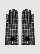 Plaid Print Gloves, Black