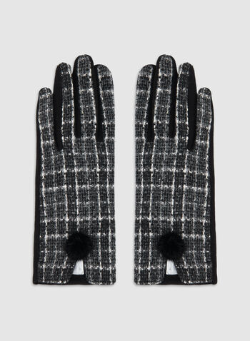 Plaid Print Gloves, Black, hi-res,  fall winter 2019, plaid print, gloves