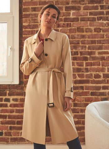 Vince Camuto - Doubleweave Belted Trenchcoat, Grey,  coat, jacket, doubleweave, trench, belted, pockets, spring summer 2021