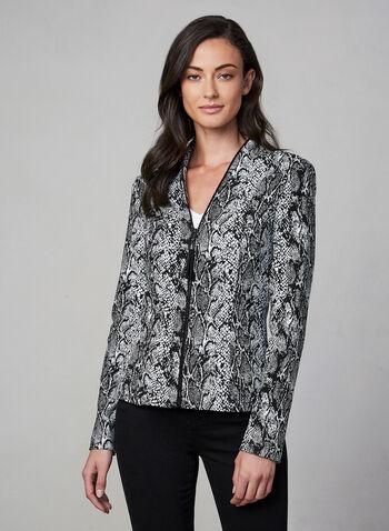 Frank Lyman - Snakeskin Print Jacket, Black, hi-res,  fall winter 2019, long sleeves, snakeskin, stretchy
