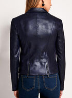 Vex - Faux Leather Zipper Trim Jacket, Blue, hi-res