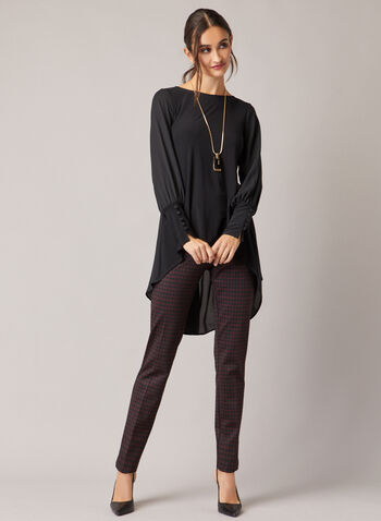 Crepe & Chiffon Tunic, Black,  tunic, top, chiffon, crepe, pleated, boat neck, asymmetric, fall winter 2020