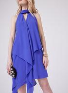 Asymmetrical Draped Dress, Blue, hi-res