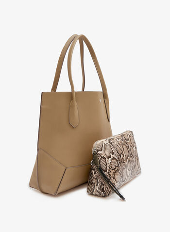 Faux Leather Snake Print Pouch Tote Bag, Off White, hi-res