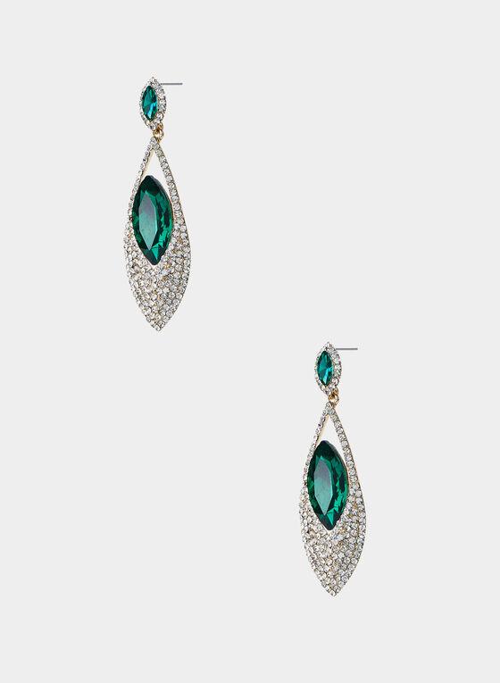 Emerald Stone Crystal Pavé Earrings, Green, hi-res